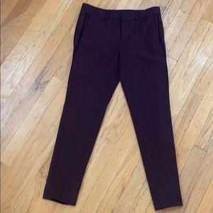 VINCE pants slacks 2 burgundy straight leg black